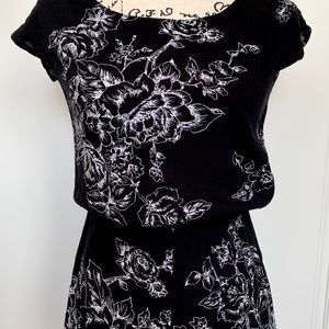 Other - Black and white floral sketch romper
